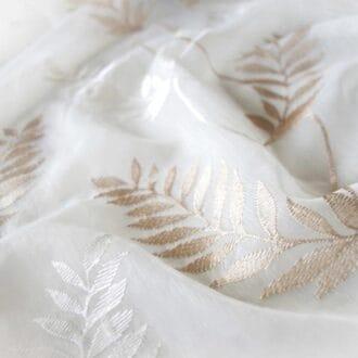Вуаль c Вышивкой Листья Бежево-молочный