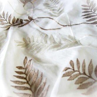 Вуаль c Вышивкой Листья Охра-молочный