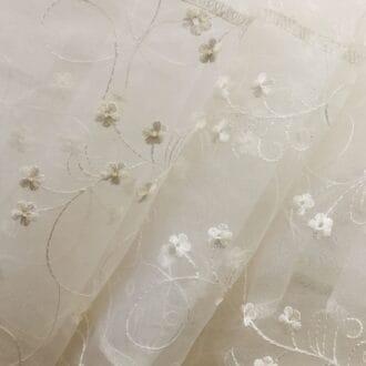 Органза c Вышивкой Цветы Белые