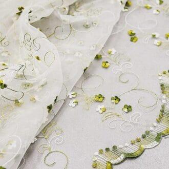 Органза c Вышивкой Цветы Хаки
