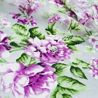 Органза Сиреневая С рисунком Цветы