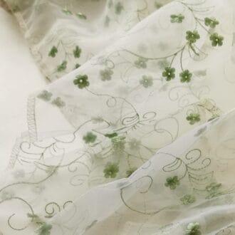 Органза c Вышивкой Цветы Зеленые