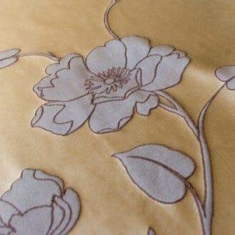 Ткань атлас капучино с цветком