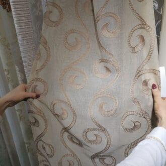 Вуаль Бежевая с Объемной вышивкой узоры