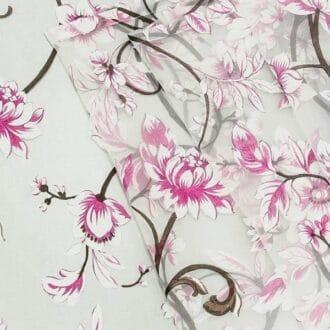 Органза С рисунком Розовые Цветы