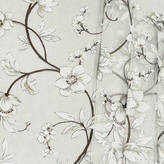 Органза С рисунком Серые Цветы