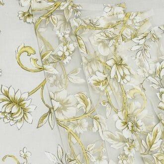 Органза С рисунком Желтые Цветы
