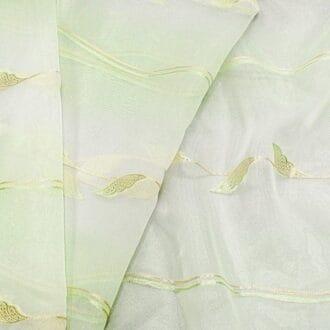 Органза Зеленая с рисунком веточки