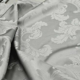 Ткань атлас серая с рисунком