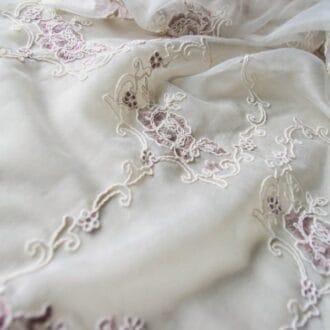 Вуаль с Вышивкой Цветы Персиковые