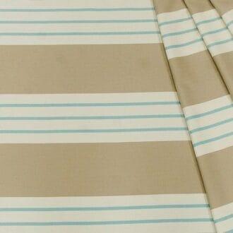 Жаккард бежевый полосы голубые