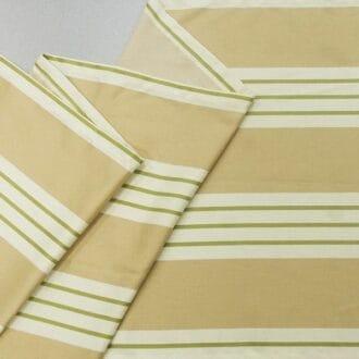 Жаккард бежевый полосы зеленые
