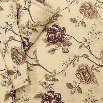 Жаккард бежевый красные цветы