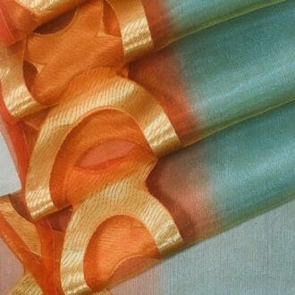 Органза мультиколор оранжевая