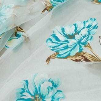 Органза с голубыми цветами