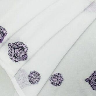 Вуаль с набивным рисунком фиолетовый