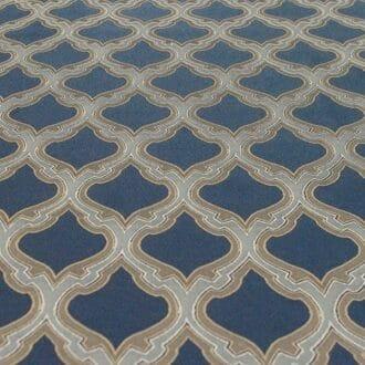 Ткань атлас синяя с узором