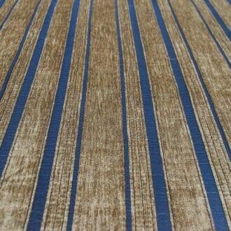Шенилл синий с бронзовыми полосами