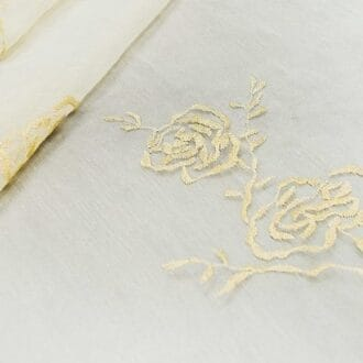 Органза с вышивкой золотая роза