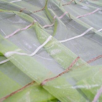 Органза зелёная с полосками